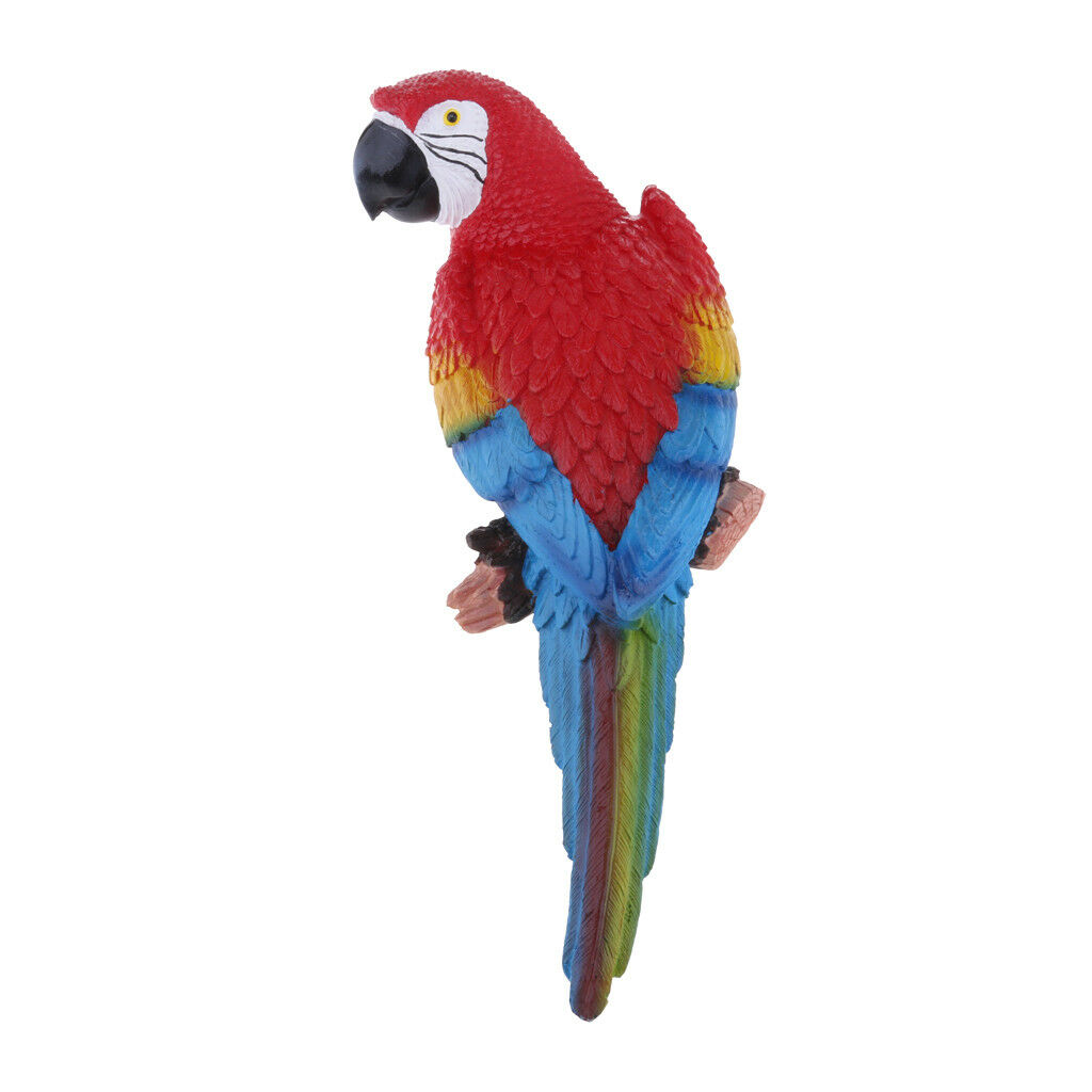 31cm Lifelike Parrot Look Left Red Birds Garden Ornament Lawn Yard Statue