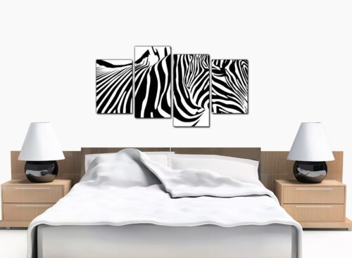 Large Black White Abstract Zebra Canvas 130cm Wide XL Picture Set 4022