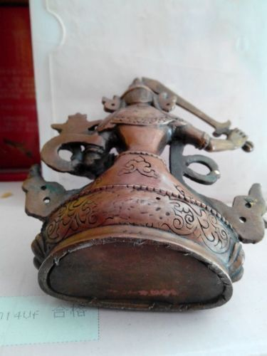 Chinese Tibet bronze Manjusri Manjushri Kwan-yin Bodhisattva Buddha Statue 14CM