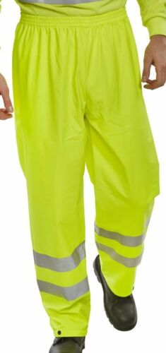 HI Vis Viz Visibility Yellow Waterproof Safety Over Trouser Pants Mens Ladies