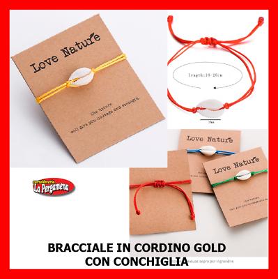 Cavigliera Bracciale Conchiglie Ciprea Con Cordino Colorato Gold Saldi Di Fine Anno