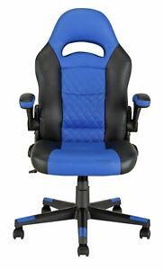 New  Argos Home Raptor Faux Leather Gaming Chair - Black & Blue-GB106.