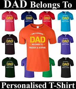 7cab7099 THIS Awesome Dad Belongs To T Shirt Personalised Name Fathers Day ...
