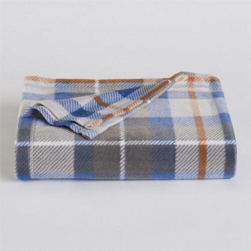 Blue Plaid Shimmer Print Fleece Throw Blanket St Nicholas Square 60x50 NIP