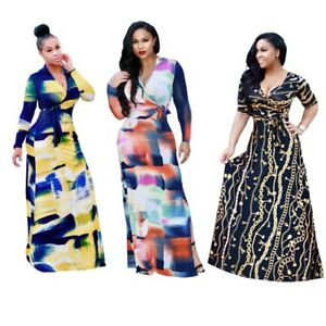 Details about Womens Plus Size Dashiki Traditional Graffiti Print African  Ball Gown Maxi Dress