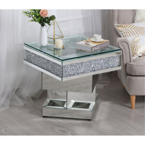 Details about MIRRORED COFFEE END TABLE EMBEDDED CRYSTALS MODERN DECO  LIVING DINING ROOM 24\