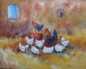 Tableau-original-sur-toile-de-Caillon-41x33-cm-poulailler-peinture-coq-poules