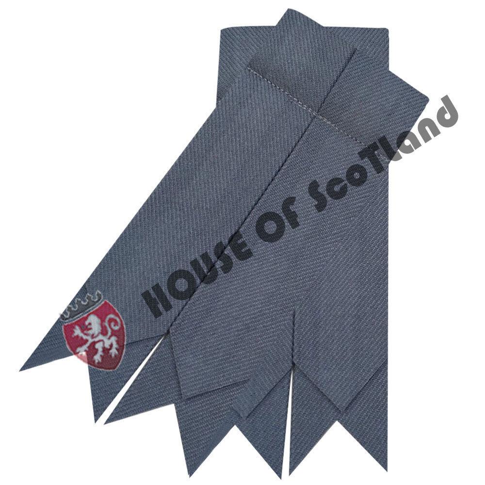 HS Men's Scottish Kilt Hose Socks Flashes Plain Grey Garter Pointed Acrylic Wool