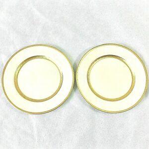 MIKASA-ANTIQUE-LACE-SET-2-SALAD-DESSERT-PLATE-GLD-ENCRUST-WHITE-ROSE-7-5-034-L5531