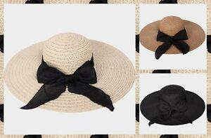 Wide Brim Summer Sun Floppy Hat Beach Bow Trendy Ribbon Paper Straw Sun Visor