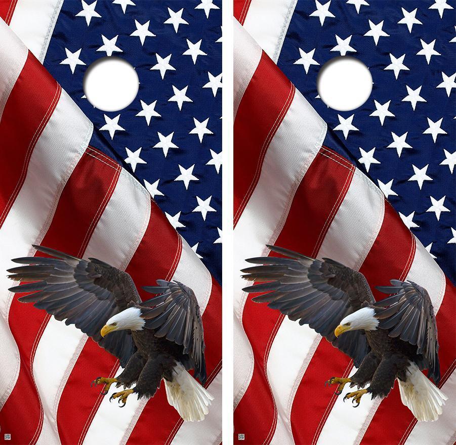 American Bald Eagle Flag Triange Design Cornhole Board Skin Wrap FREE SQUEEGEE