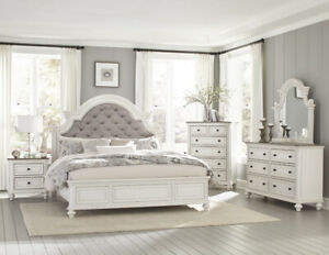 Details about BUTTON TUFTED ANTIQUE WHITE QUEEN BED N/S DRESSER MIRROR  BEDROOM FURNITURE SET