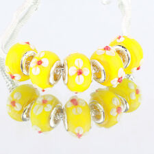 Yellow white flowers 5pcs MURANO glass bead LAMPWORK fit European Charm Bracelet