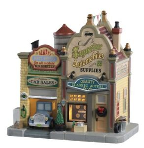 RARE-LEMAX-Christmas-Village-Automobile-Shop-Superior-Auto-NIB-Lighted-Building