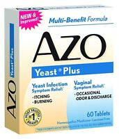 4 Pack Azo Yeast Prevention 60 Tablets Ea, Homeopathic Yeast Infection Treatment on Sale