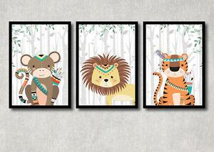 Bild set safari tiere kunstdruck a4 affe l we tiger tribal for Kinderzimmer bilder tiere