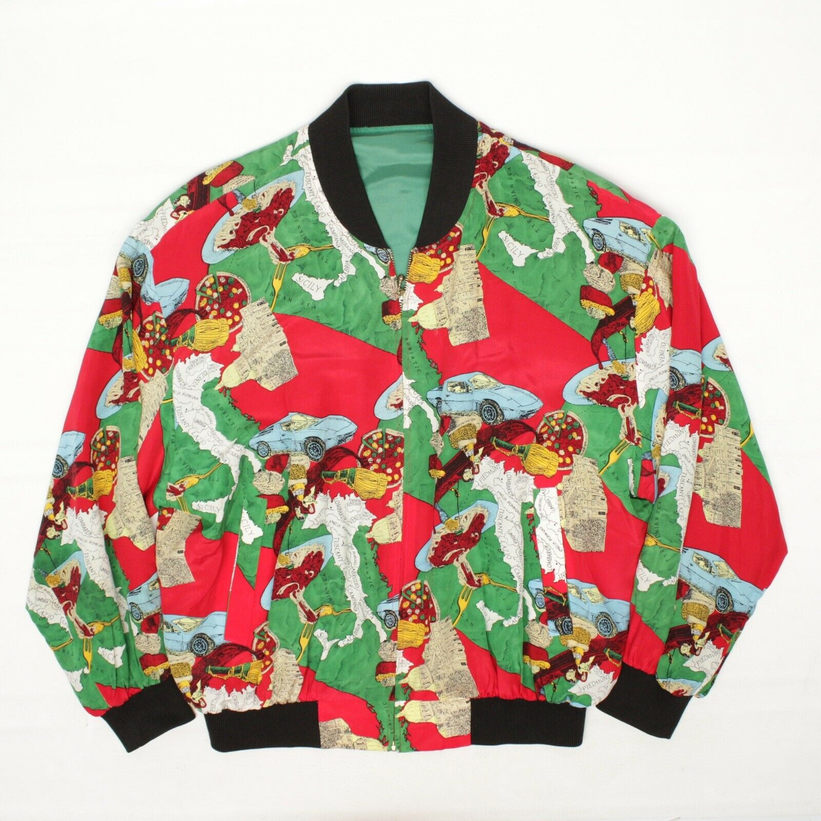 Silk Bomber Jacket L Red Green Italy Print Sports… - image 1