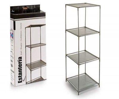Furniture Libreria Scaffale Etagere In Metallo Grigio Cm 34,5x34,5x104h Multiuso 4 Ripiani