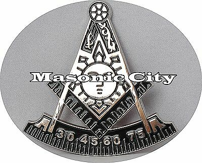 Z-147 Silver METAL zinc Past Master Die Cut Masonic Auto Emblem Car Mason PM