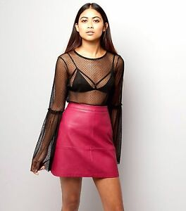 d6a75537b NEW LOOK DEEP CERISE PINK LEATHERETTE FAUX LEATHER LOOK MINI SKIRT 8 ...