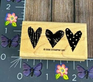 Stampin' Up! Three Hearts Border Rubber Stamp 2006 Design Spots Wood #D35
