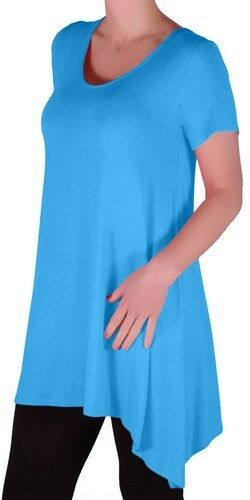 Womens Short Sleeve Scoop Neck Plain Thigh Length Casual Long Blouse Tunic Top