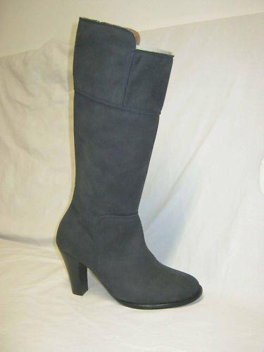 Saldi stivali in pelle di nabuk color blue N°37 con tacco altezza cm.7,5