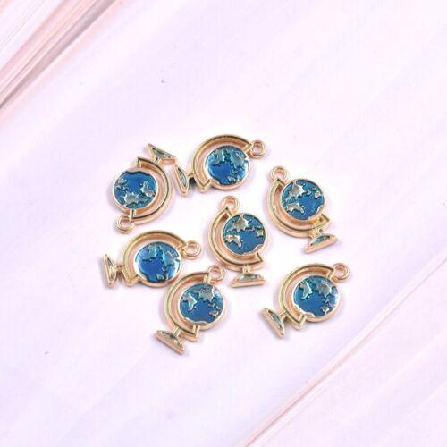 10PC Cute Blue Globe Charm Pendant 18*11mm For Earrings//Necklace//Bracelet