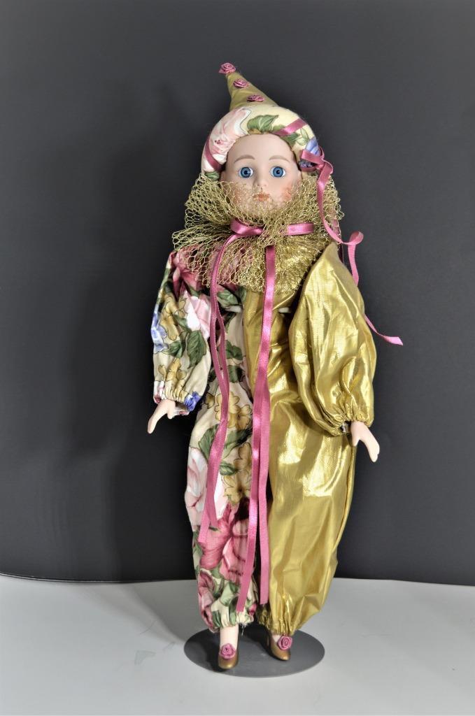 Vintage Seymour Mann Porcelain Harlequin Pierrosso Doll 20  Tall Circa 1990