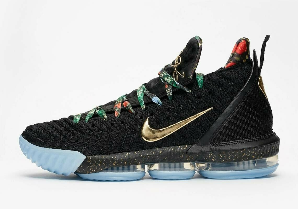SHIP NOW Nike LeBron 16 Watch The Throne Black gold pink Frost Size 11.5