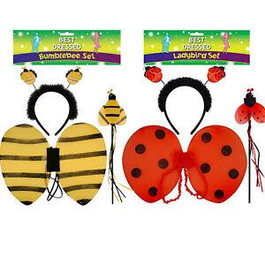 New Children's Girls 3 Pcs Ladybird Or Bumblebee Insect Dress Up Set Fancy Dress