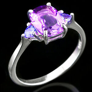 100/% NATURAL 9X7MM AFRICAN AMETHYST /& WHITE CZ STERLING SILVER 925 RING SIZE 8