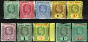 Cayman-Islands-1907-09-set-of-10-SG25-34-Fine-amp-Fresh-Mtd-Mint