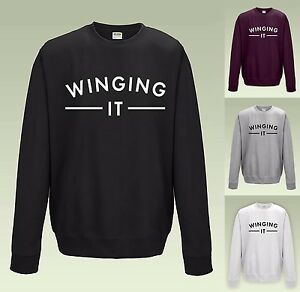 WINGING-IT-SWEATSHIRT-JH030-JUMPER-SWEATER-COOL-SLOGAN-FUNNY