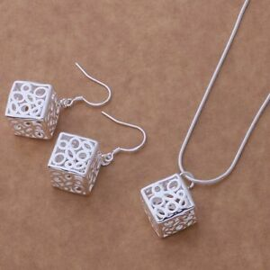 Design-Cube-Pendant-Necklace-and-Earrings-Set-925-Sterling-Silver-NEW