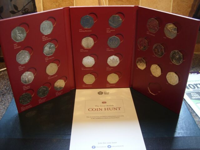 THE GREAT BRITISH 50p COIN HUNT ALBUM WITH 24 COINS ... NEAR FULL SET