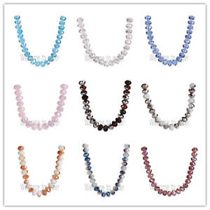 8mm-Faceted-Glass-Crystal-Rondelle-Loose-Spacer-Beads-Jewelry-Findings-69-Colors