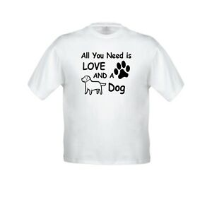918082537 Details about All You Need Is Love And A Dog Kid Girl Boy Youth Crew Neck  Short Top T-Shirt