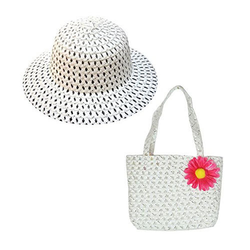Girls Easter Bonnet Straw Hat with Matching Handbag
