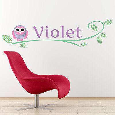 Personalised Wall Sticker Owl Woodland Animals Art Decal Transfer Bedroom Vinyl
