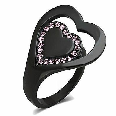 Black Heart Ring Pink Top Grade Crystal in Stainless Steel