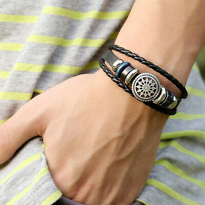 Jewelry Fashion Leather Cute Infinity Charm Wrap Bracelet Silver Lots Style Punk