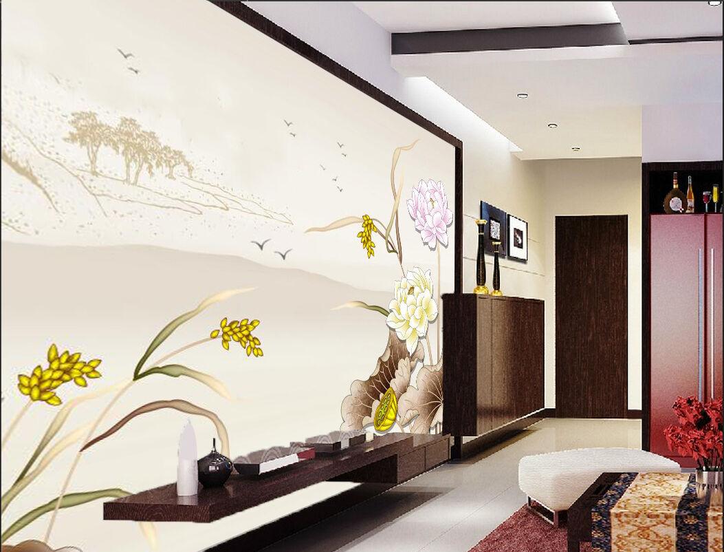 3D Simple Lotus Flowers Leaf 71 Wall Paper Wall Print Decal Wall AJ WALLPAPER CA