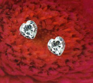 4.30 Ct White Sapphire Heart Gemstone Natural Pair AGI Certified Valentine's Day