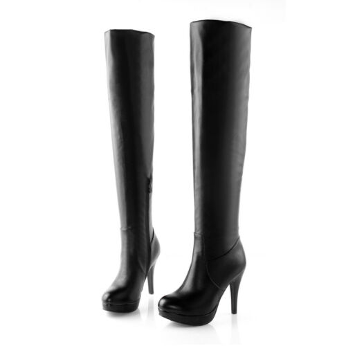 Women Stiletto Heels Platform Over Knee High Boots Side Zip Pleated Casual Shoes