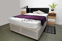Double Deep Quilt Divan Bed With Mattress+ Faux Leather Headboard.factory Shop