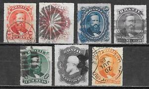 Brazil stamps 1876 YV 30-36 CANC VF