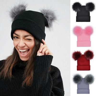 f68669171 QA_ EG_ Cute Double Faux Fur Ball Pom Pom Women Lady Knitted Beanie Hat  Warm C | eBay