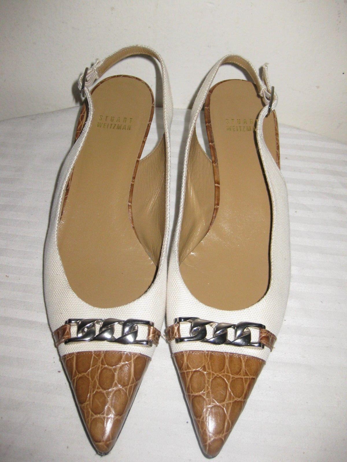 Stuart Weitzman Cocodrilo en relieve de de de cuero marrón tostado eslingas de vuelta zapatos talla 7.5 M  mejor oferta