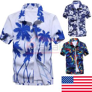 US-Mens-Hawaiian-Summer-Floral-Printed-Beach-Short-Sleeve-Camp-Shirt-Tops-Blouse
